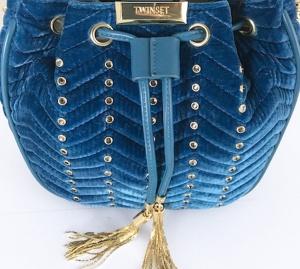 Twinset borsa a secchiello con strass oa8taa blu ottanio velluto - dettaglio 2