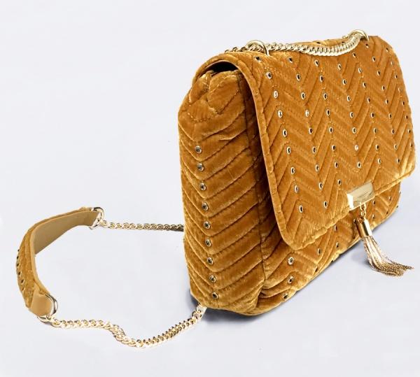 Twinset borsa a tracolla con strass oa8tab ocra scuro velluto - dettaglio 1