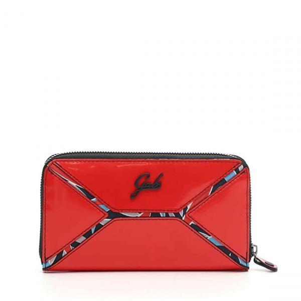 Gabs portafoglio hanako black pelle lucida e vela stampata rosso - dettaglio 1