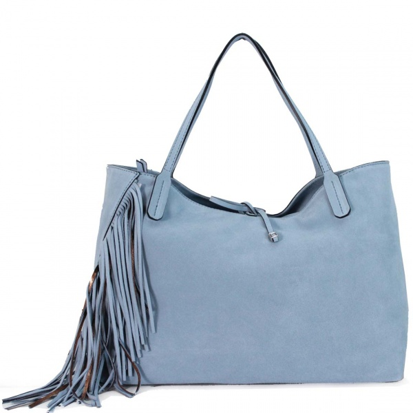 Gianni Chiarini Shopping bag Ray Fringes Sky e Bronzo - dettaglio 1