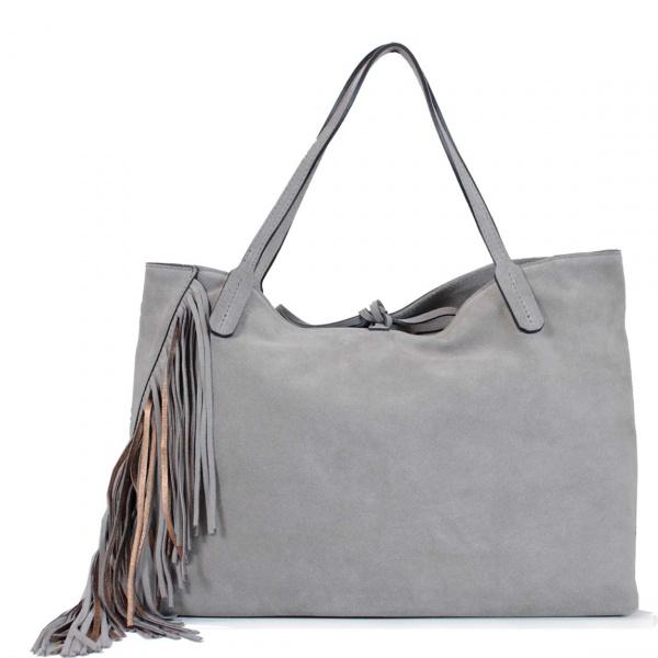 Gianni Chiarini Shopping bag Ray Fringes Taupe e Bronzo - dettaglio 1