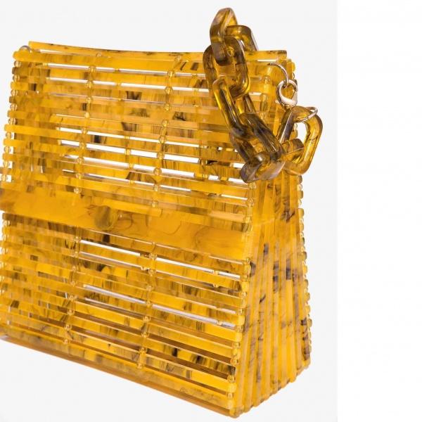 Nali borsa a spalla in resina con catena mabs0032 senape - dettaglio 1
