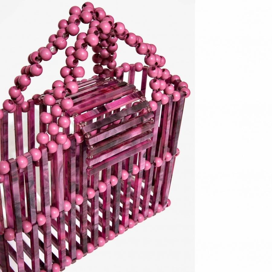 Nali borsa a mano con elementi in resina mabs0031 fuxia - dettaglio 2