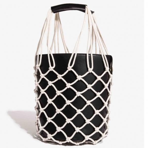 Nali borsa a secchiello con rete yibs0350 nero - dettaglio 1