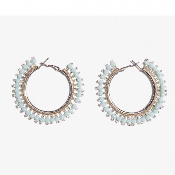 Nalì orecchini cerchio beads shor0341 turchese - dettaglio 1