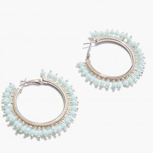 Nalì orecchini cerchio beads shor0341 turchese - dettaglio 2