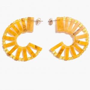 Nalì orecchini cerchio con elementi in resina maor0074 senape - dettaglio 1