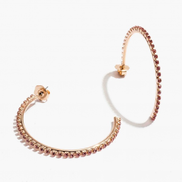 Nalì orecchini a cerchio con cristalli emor0353 rosa - dettaglio 1