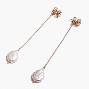 Nalì orecchini stilizzati con perle abor0053 oro - dettaglio 1