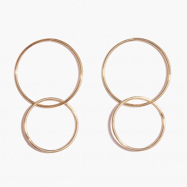 Nalì orecchini con cerchi a due misure mfor0032 oro - dettaglio 1