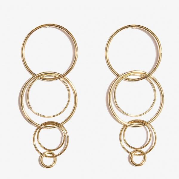 Nalì orecchini con cerchi concentrici pendenti mfor0034 oro - dettaglio 1