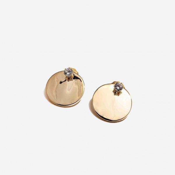 Nalì orecchini a disco con dettaglio di cristallo mfor0037 oro - dettaglio 1