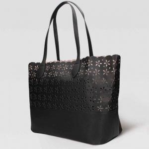 Twinset Shopping bag con dettagli a fiori in Similpelle Nero - 191ta7160