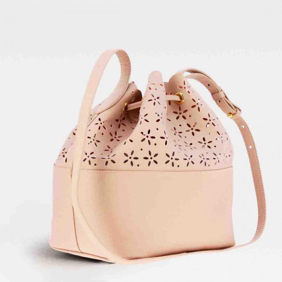 Twinset borsa a secchiello con dettagli a fiori 191ta7161 perla rosa similpelle - dettaglio 2