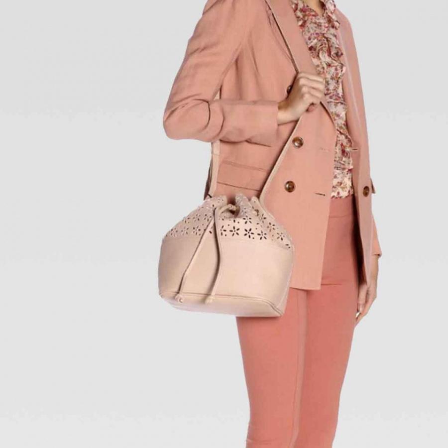 Twinset borsa a secchiello con dettagli a fiori 191ta7161 perla rosa similpelle - dettaglio 3