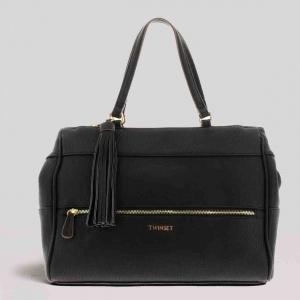 Twinset borsa a spalla tote con nappa 191ta7601 nero similpelle - dettaglio 1