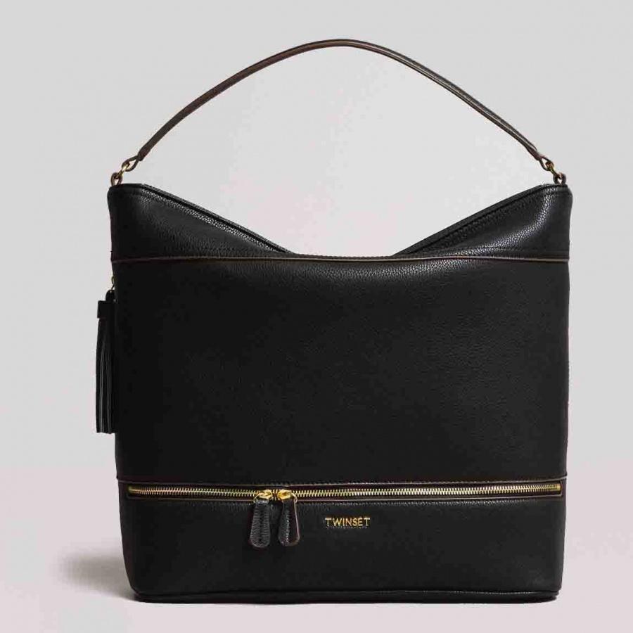 Twinset borsa a spalla hobo con nappa 191ta7600 nero similpelle - dettaglio 1