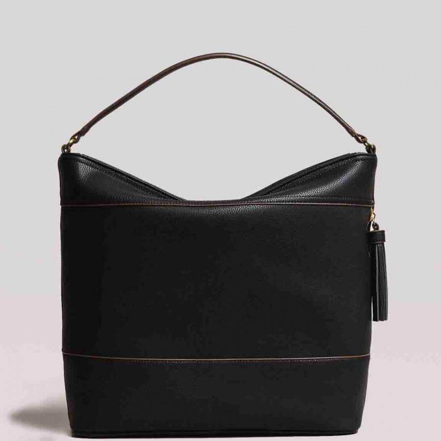 Twinset borsa a spalla hobo con nappa 191ta7600 nero similpelle - dettaglio 4
