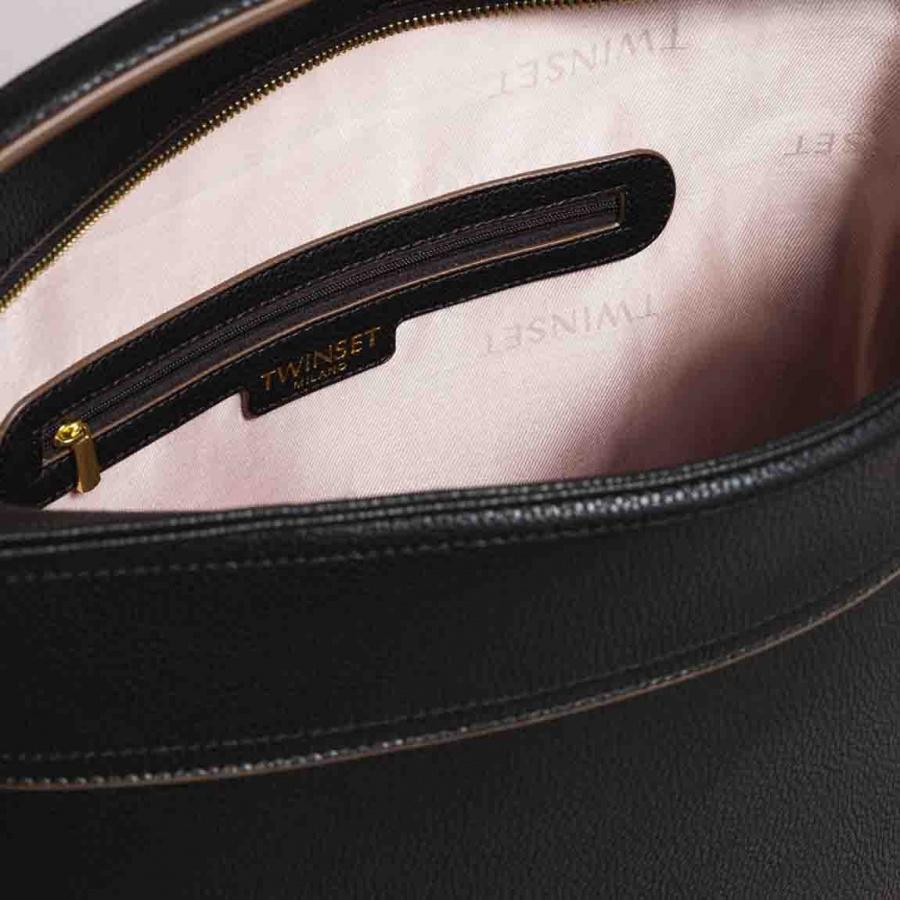 Twinset borsa a spalla hobo con nappa 191ta7600 nero similpelle - dettaglio 5