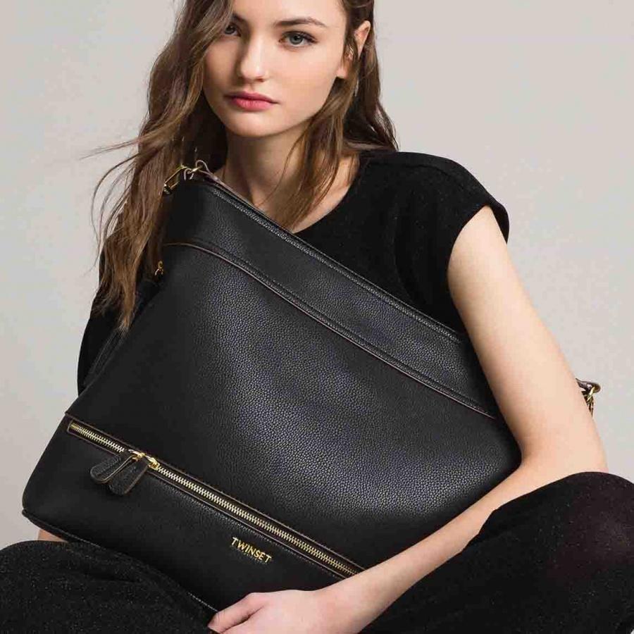 Twinset borsa a spalla hobo con nappa 191ta7600 nero similpelle - dettaglio 6