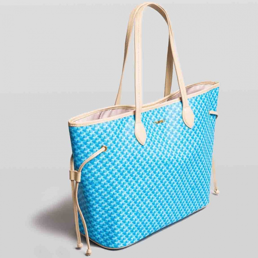 Twinset Shopping bag con stampa farfalle in Similpelle Stampa Farfalle Mykonos Blu Chiaro - dettaglio 1