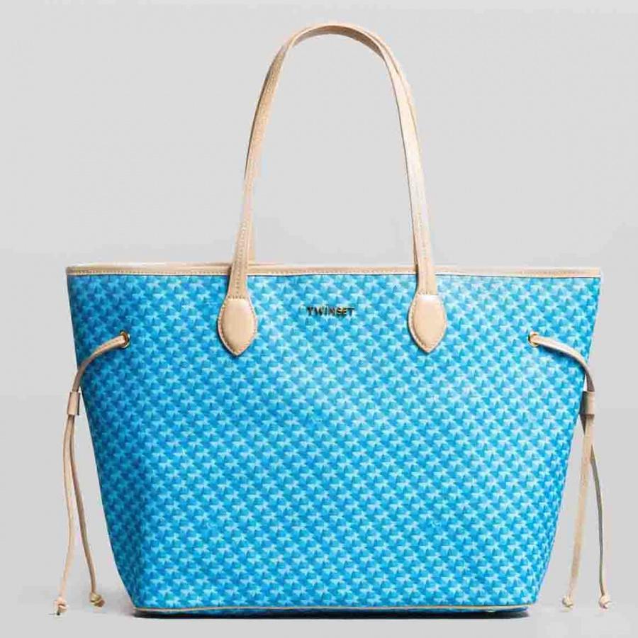 Twinset Shopping bag con stampa farfalle in Similpelle Stampa Farfalle Mykonos Blu Chiaro - dettaglio 2