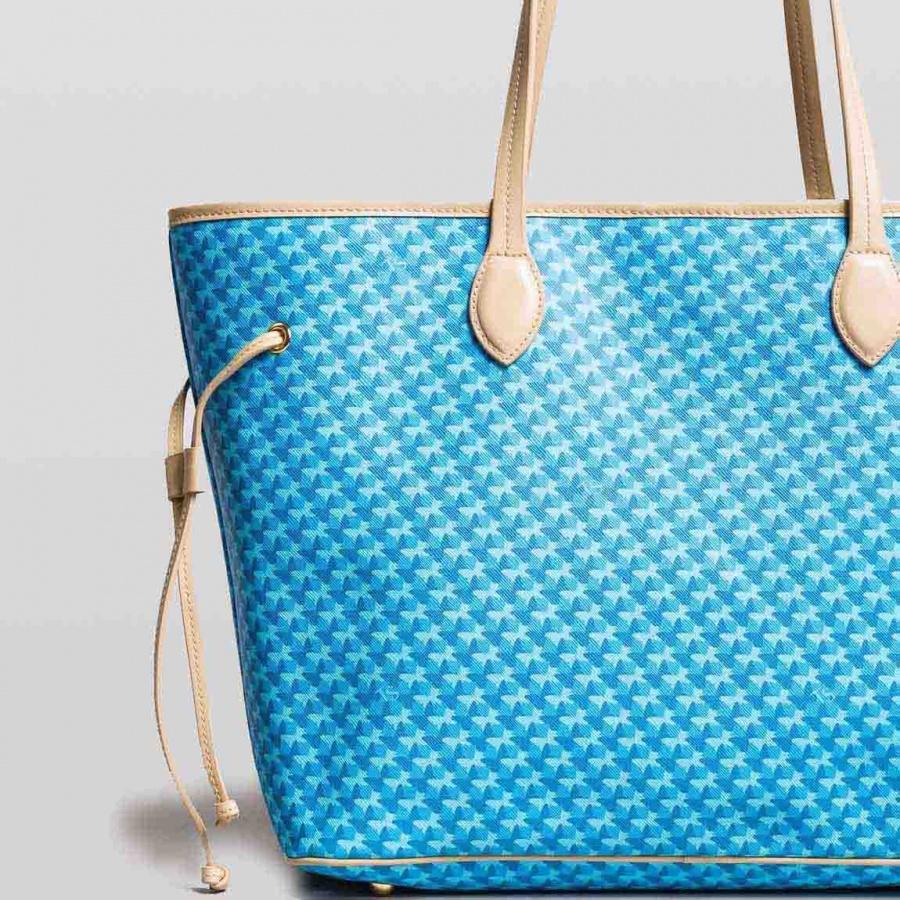 Twinset Shopping bag con stampa farfalle in Similpelle Stampa Farfalle Mykonos Blu Chiaro - dettaglio 3