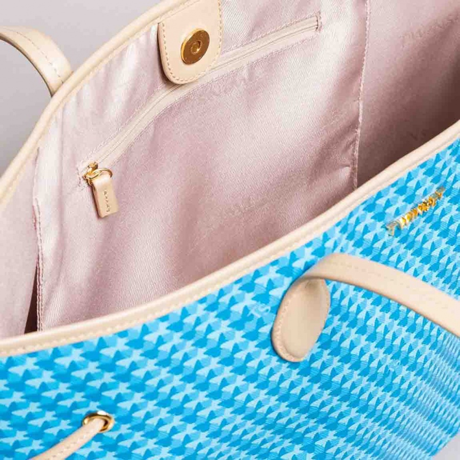 Twinset Shopping bag con stampa farfalle in Similpelle Stampa Farfalle Mykonos Blu Chiaro - dettaglio 4