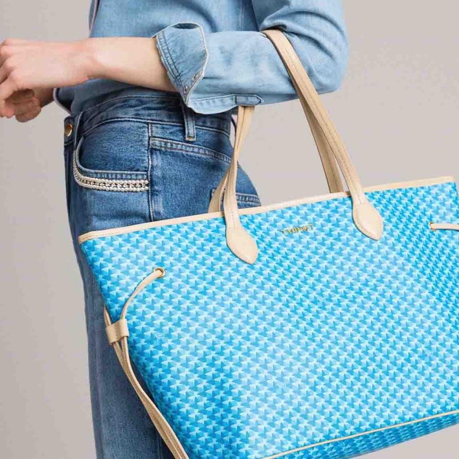 Twinset Shopping bag con stampa farfalle in Similpelle Stampa Farfalle Mykonos Blu Chiaro - dettaglio 5