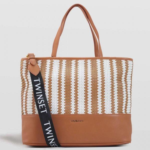 Twinset shopping bag con intreccio 191to8133 cuoio similpelle - dettaglio 1