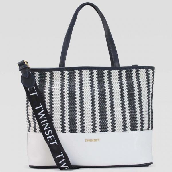 Twinset Shopping bag con intreccio in Similpelle Indaco - dettaglio 1