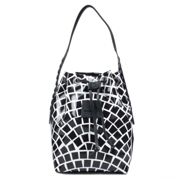 Borsa a secchiello Gabs Stella Test P0071 Mosaico Bianco e Nero - dettaglio 1