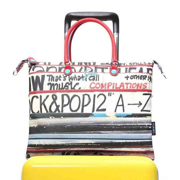 Gabs borsa a mano g trip travel in pvc e pelle stampa dischi - dettaglio 1