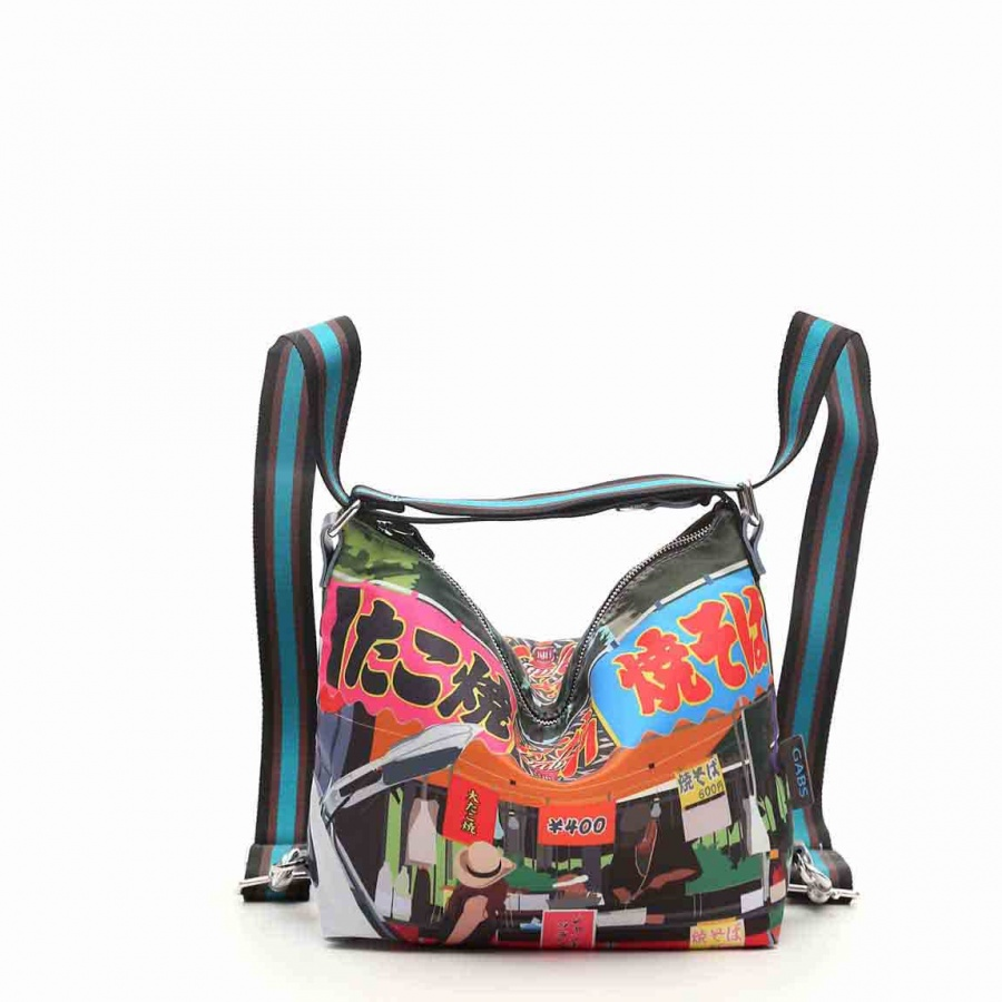 Gabs borsa a spalla/zaino g-urban vela e pelle stampa fiat 500yoyogi - dettaglio 7