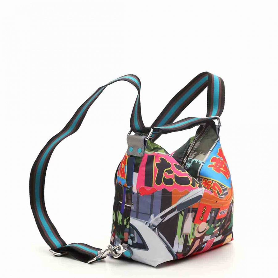 Gabs borsa a spalla/zaino g-urban vela e pelle stampa fiat 500yoyogi - dettaglio 8