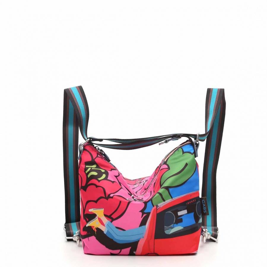 Gabs borsa a spalla/zaino g-urban vela e pelle stampa fiat 500brooklyn - dettaglio 10