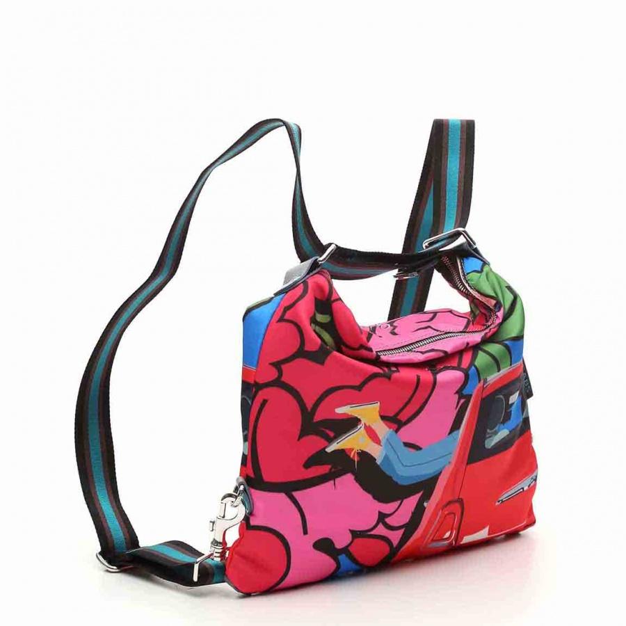 Gabs borsa a spalla/zaino g-urban vela e pelle stampa fiat 500brooklyn - dettaglio 7