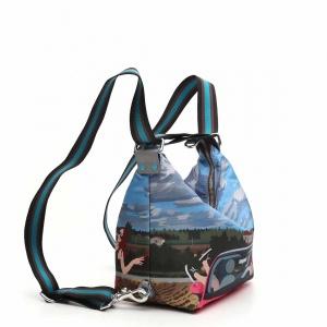 Gabs borsa a spalla/zaino g-urban vela e pelle stampa fiat 500siena - dettaglio 2