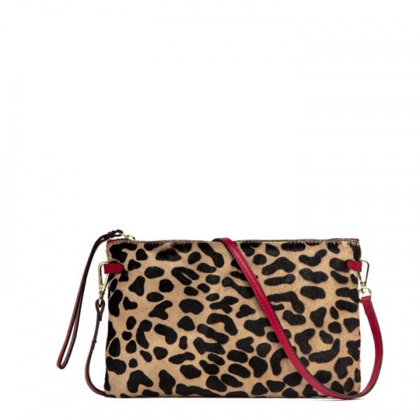 Pochette hermy large gianni chiarini stampa leopardata nero e rossa - dettaglio 1