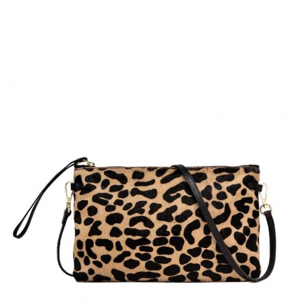 Pochette hermy large gianni chiarini stampa leopardata nero - dettaglio 1