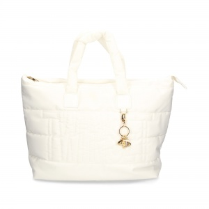 Twinset Shopping bag trapuntata con charms in nylon Bianco neve - DETTAGLIO 1