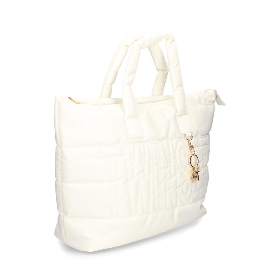 Twinset Shopping bag trapuntata con charms in nylon Bianco neve - DETTAGLIO 2