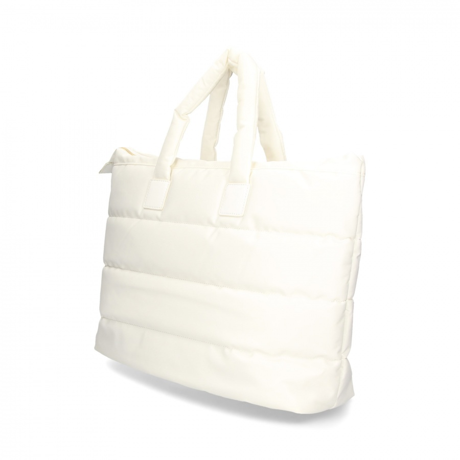 Twinset Shopping bag trapuntata con charms in nylon Bianco neve - DETTAGLIO 3