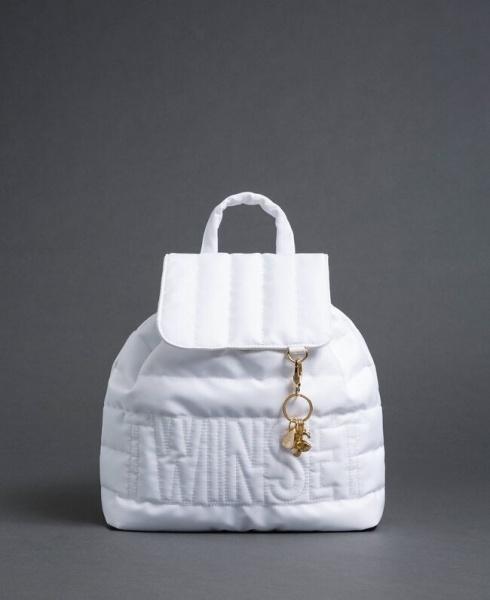 Twinset zaino trapuntato con charms e logo 192to8062 bianco neve nylon - dettaglio 1