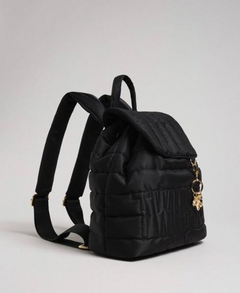 Twinset zaino trapuntato con charms e logo 192to8062 nero nylon - dettaglio 1