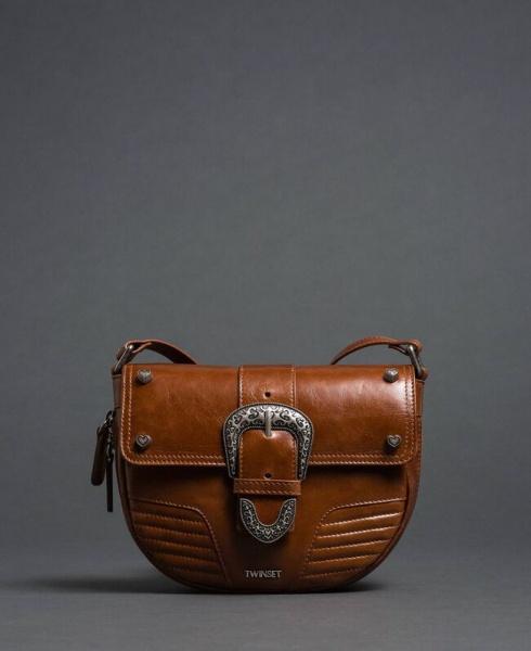 Twinset borsa a tracolla rebel con fibbia décor 192to823c cuoio pelle - dettaglio 1