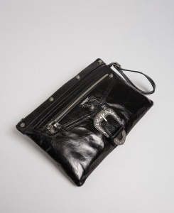 Twinset pochette con fibbia décor 192to823h nero pelle - dettaglio 1