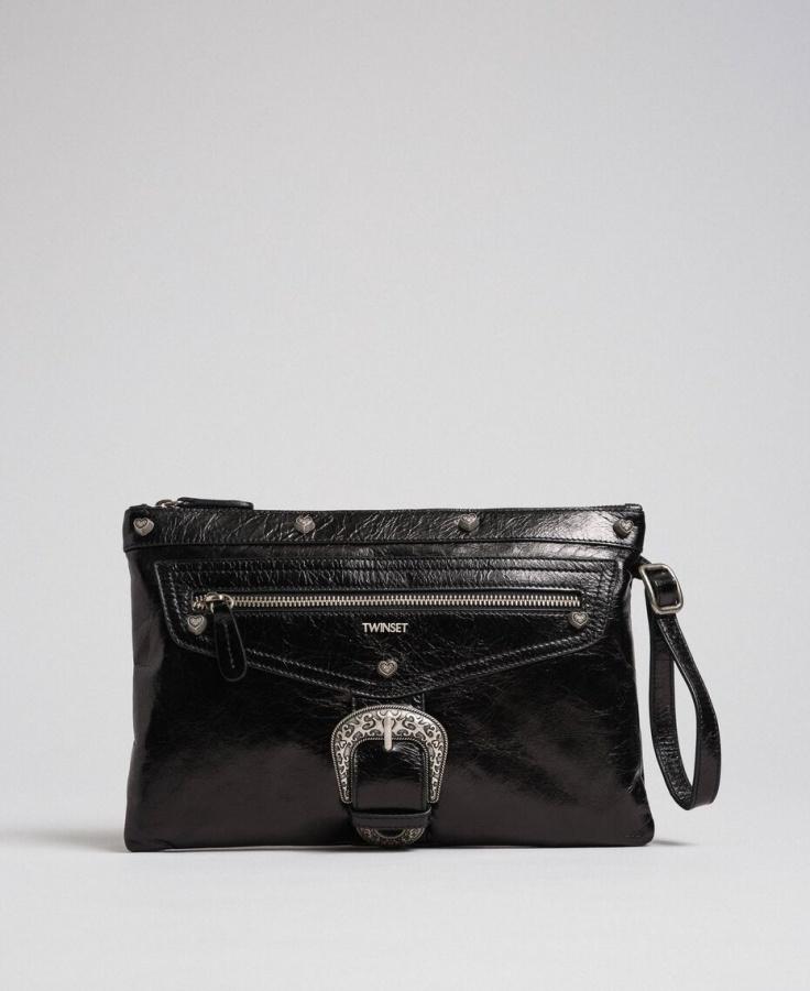 Twinset pochette con fibbia décor 192to823h nero pelle - dettaglio 2