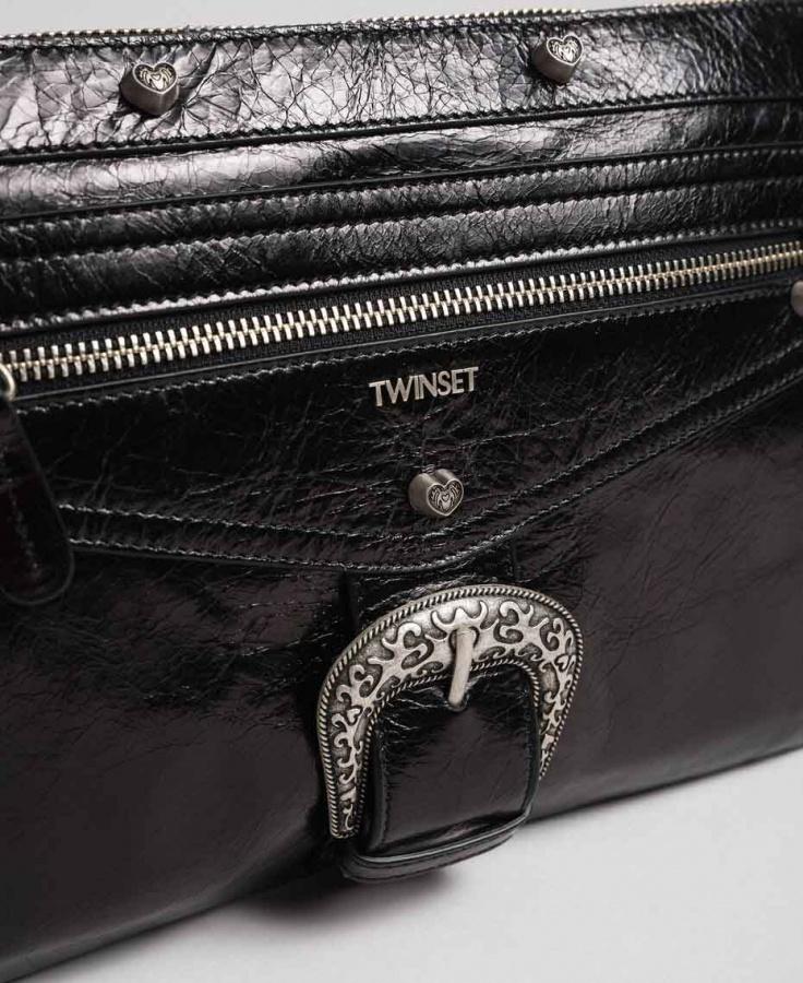 Twinset pochette con fibbia décor 192to823h nero pelle - dettaglio 3