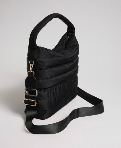 Twinset borsa a spalla hobo trapuntata 192to8063 nero nylon - dettaglio 1